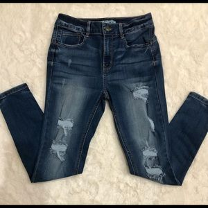 High-Rise Wax Jeans With Destruction